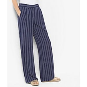 Michael Kors Striped Wide Leg Pant in True Navy